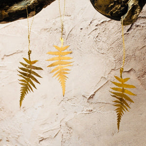 Set of Three Brass Fern Decors