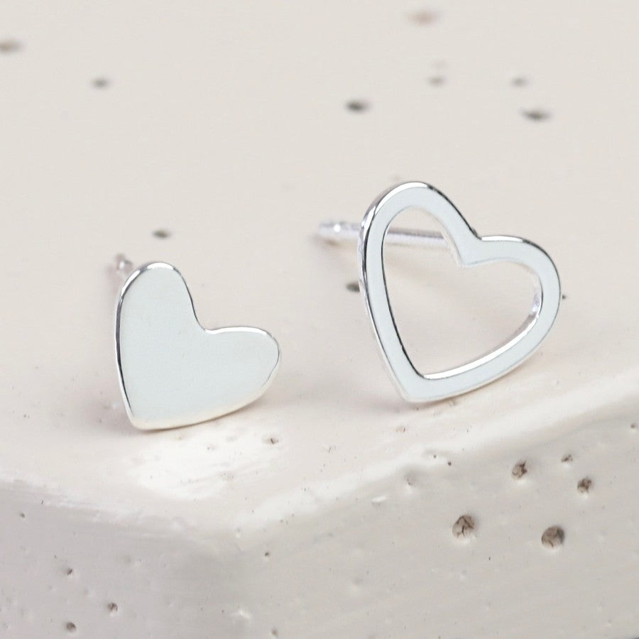 Silver Mismatched Heart Stud Earrings - The Munro