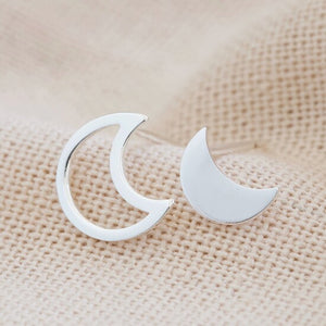 Mismatched Moon Stud Earrings