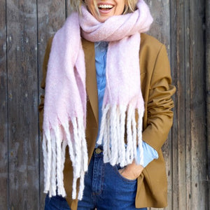 Oversized Lilac Tassel Blanket Scarf - The Munro