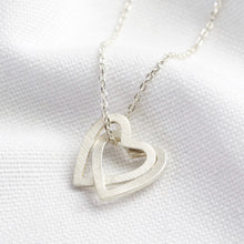 Load image into Gallery viewer, Silver Interlocking Hearts Pendant Necklace