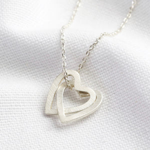 Silver Interlocking Hearts Pendant Necklace