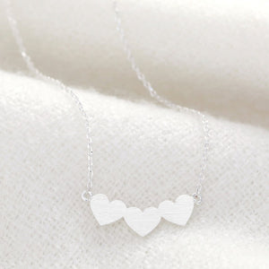 Silver Triple Heart Pendant Necklace