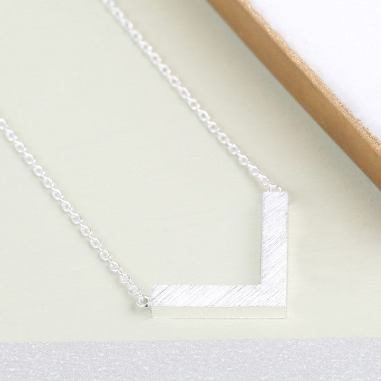 Small Silver Chevron Necklace - The Munro