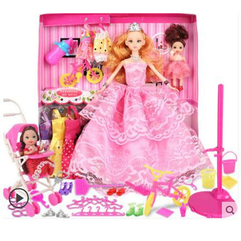 Doll Dress For Barbiedoll Solid Color Lace Dress For Girl's Doll Toy