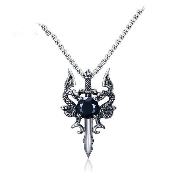 Men's Cubic Zirconia Pendant Necklace franco chain Rosary Chain Dragon Animal Stainless Steel Silver Necklace Jewelry One-piece Suit For Gift Daily