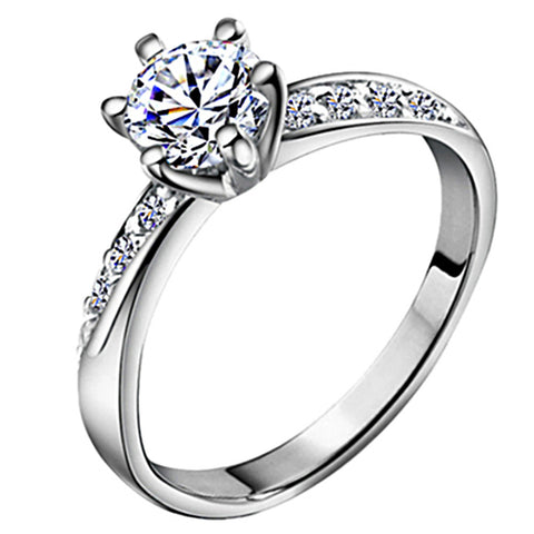 Women's Diamond Band Ring Belle Ring Solitaire Round Cut Halo Love Ladies Classic Bridal Zircon Silver Plated Ring Jewelry Silver For Wedding Anniversary Gift Daily Masquerade Engagement Party 5 / 6