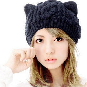 Women's Wool Beanie / Slouchy-Solid Colored Winter Black / Cute / Hat & Cap