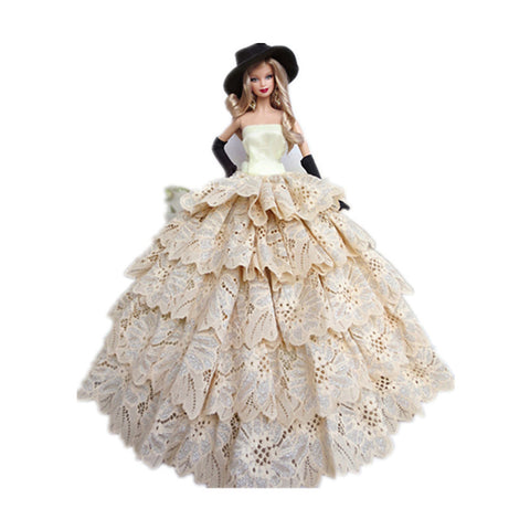 Doll Dress Doll Outfit For Barbiedoll Solid Color Polyester Dress / Gloves / Hat For Girl's Doll Toy