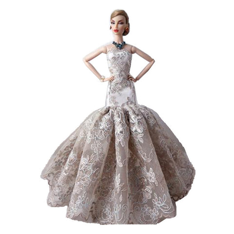 Doll Dress Party / Evening For Barbiedoll Satin / Tulle Lace Satin Dress For Girl's Doll Toy