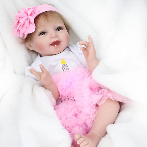 NPKCOLLECTION NPK DOLL Reborn Doll Baby 22 inch Silicone Vinyl - lifelike Cute Hand Made Child Safe Non Toxic Lovely Kid's Girls' Toy Gift / Parent-Child Interaction / CE Certified / Floppy Head