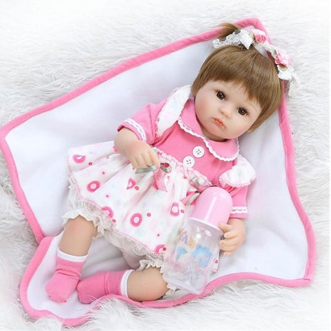 NPKCOLLECTION NPK DOLL Reborn Doll Girl Doll Baby Girl 18 inch Silicone - Newborn lifelike Cute Eco-friendly Hand Made Child Safe Kid's Unisex / Girls' Toy Gift / Parent-Child Interaction