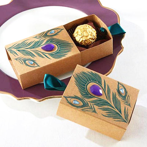 Cuboid Card Paper Favor Holder with Ribbons Favor Boxes - 50