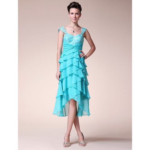 A-Line Sweetheart Straps Asymmetrical Chiffon Floral Lace Mother of the Bride Dress