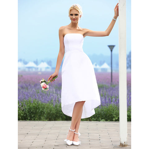 A-Line Strapless Asymmetrical Taffeta Made-To-Measure Wedding Dresses with by LAN TING BRIDE® / Little White Dress