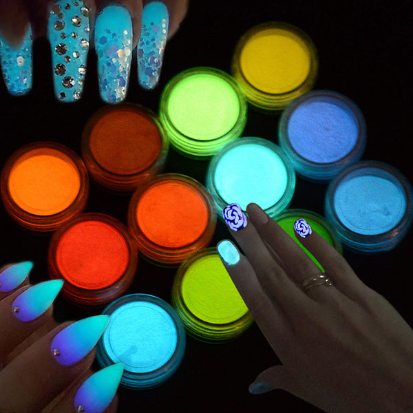 fashion candy colors fluorescent pigment luminous nail art diy glitter powder glow in the dark sparkling 3d beauty powder decoration