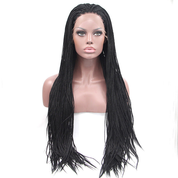 Synthetic Lace Front Wig Straight Style Lace Front Wig Black Natural Black Synthetic Hair Women's Natural Hairline / African American Wig / Braided Wig Black Wig Long Natural Wigs