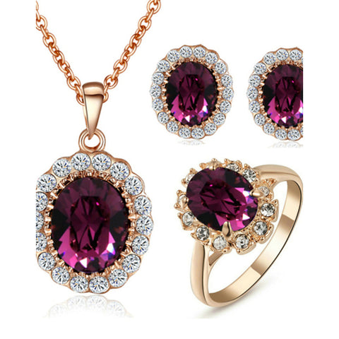 Women's Crystal High End Crystal Jewelry Set Solitaire Oval Cut Halo Circle Dainty Ladies Crystal Cubic Zirconia Imitation Diamond Earrings Jewelry Purple For Wedding Party Daily Casual Masquerade
