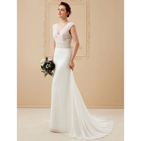 A-Line V Neck Court Train Chiffon / Corded Lace Made-To-Measure Wedding Dresses with Lace by LAN TING BRIDE® / See-Through