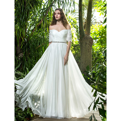 A-Line Off Shoulder Floor Length Chiffon Made-To-Measure Wedding Dresses with Crystal / Ruched / Criss-Cross by LAN TING BRIDE® / Illusion Sleeve