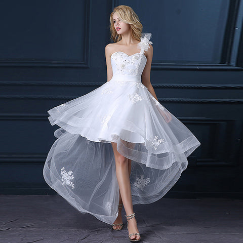 A-Line One Shoulder Asymmetrical Satin / Tulle Made-To-Measure Wedding Dresses with Sequin / Appliques by LAN TING Express / Little White Dress