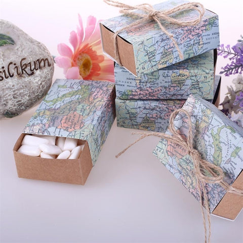 Round / Square / Cuboid Card Paper Favor Holder with Ribbons / Printing Favor Boxes - 12