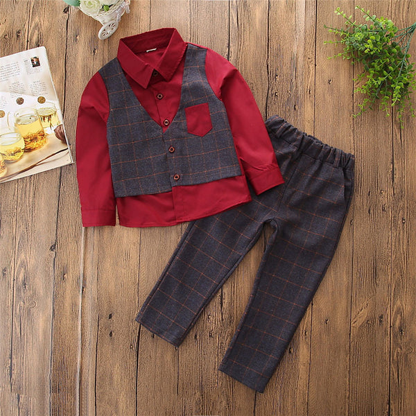 Toddler Boys' Simple Casual Party Daily Plaid Patchwork Long Sleeve Regular Regular Cotton Clothing Set Blue