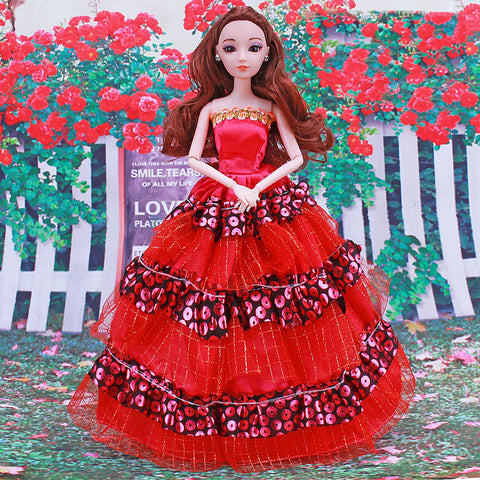 Doll Dress Party / Evening For Barbiedoll Lace Red Satin / Tulle Lace Satin Dress For Girl's Doll Toy