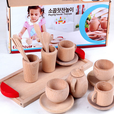 Toy Kitchen Set Pretend Play Simulation Wooden Kid's Girls' Toy Gift 1 pcs
