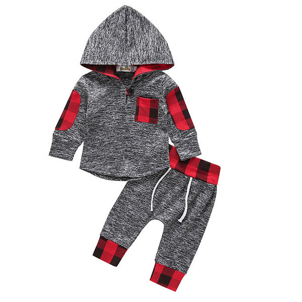 Toddler Boys' Active Daily Solid Colored Geometric Long Sleeve Regular Regular Clothing Set Gray