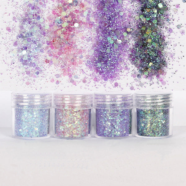 nail art 10ml pink purple mixed nail glitter powder hexagon shape glitter nail powder sheets tips nail art set