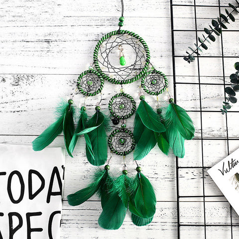 Handmade Dream Catchers Green Memory Interior 5 Ring Dream Catcher Pendant Wall Art Decoration