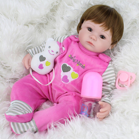 NPKCOLLECTION NPK DOLL Reborn Doll Girl Doll Baby Girl 18 inch Silicone Vinyl - Newborn lifelike Cute Hand Made Child Safe New Design Kid's Girls' Toy Gift / Parent-Child Interaction / Non Toxic