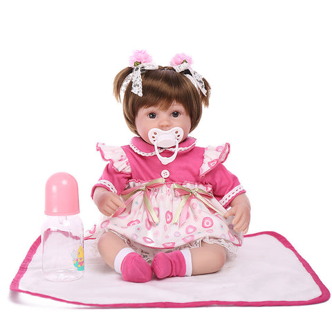 NPK DOLL Reborn Doll Baby 18 inch Silicone Vinyl - lifelike Cute Hand Made Child Safe Non Toxic Lovely Kid's Girls' Toy Gift / Parent-Child Interaction / CE Certified / Natural Skin Tone