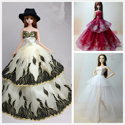 Doll Dress For Barbiedoll Solid Color Polyester Dress For Girl's Doll Toy