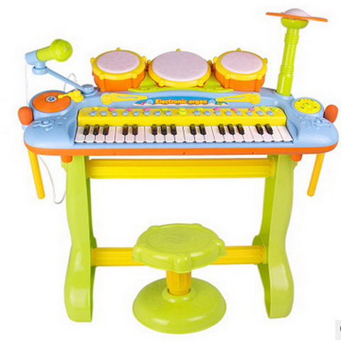 ou rui Drum Set Electronic Keyboard Toy Musical Instrument Set Piano Drum Set Fun with Microphone Plastic Kid's Boys' Girls' Toy Gift