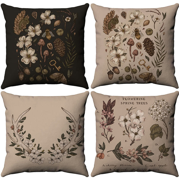 4 pcs Cotton / Linen Pillow Cover, Floral Leaf Rustic Pastoral Throw Pillow