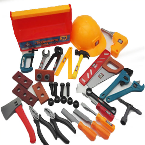 Construction Tool Pretend Play Toy Tool Safety Simulation Plastic Kid's Boys' Toy Gift 37 pcs