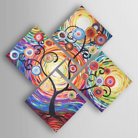 Oil Painting Hand Painted - Abstract Modern Stretched Canvas / Five Panels