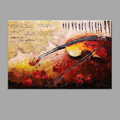 Hand-Painted Abstract Horizontal Panoramic Canvas Oil Painting Home Decoration One Panel