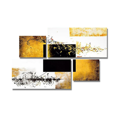 Oil Painting Hand Painted - Abstract Modern Stretched Canvas / Four Panels