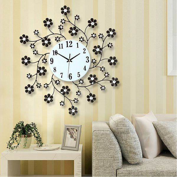 Pastoral Flower Iron Rhinestone Living Room Bedroom Watch Clocks Large Decorative Wall Clock Saat Horloge Murale