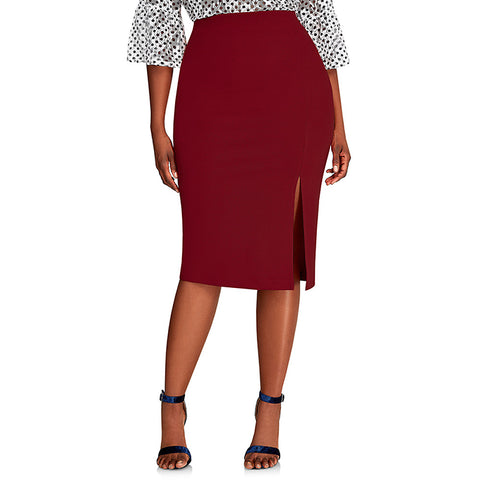 Women's Basic / Street chic Plus Size Bodycon Skirts - Solid Colored Split / Patchwork Blue Red Wine