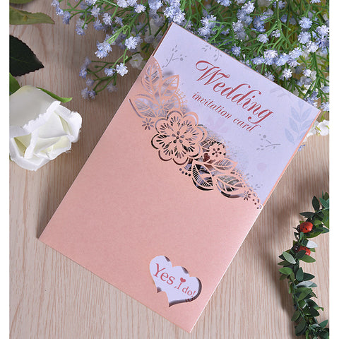 "Side Fold Wedding Invitations 50pcs - Invitation Cards Pearl Paper 7 1/2 ""×6 1/4"" (19*13.5cm)"