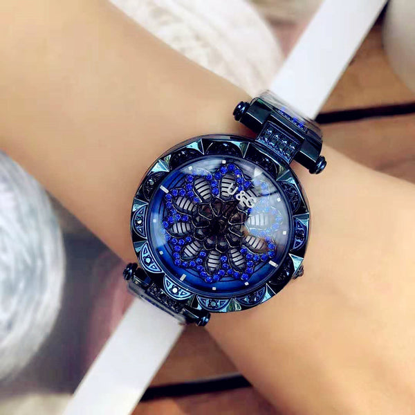 Women's Steel Band Watches Quartz Stainless Steel Water Resistant / Waterproof Analog Fashion - Purple Blue Rose Gold
