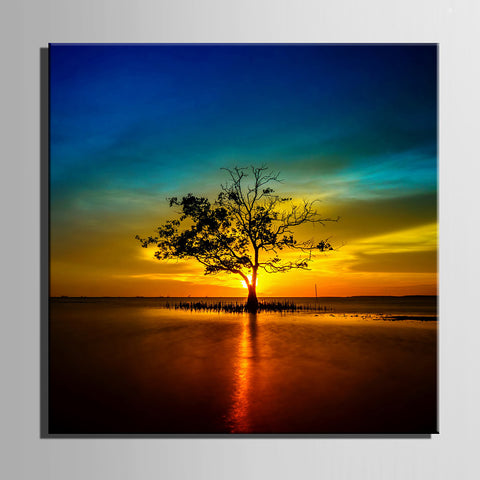 E-HOME® Stretched Canvas Art Tree in The Water in The Setting Sun Decorative Painting One Pcs