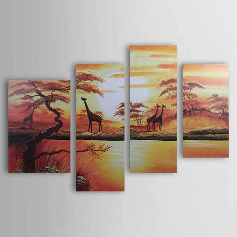 Oil Painting Hand Painted - Landscape Canvas Four Panels