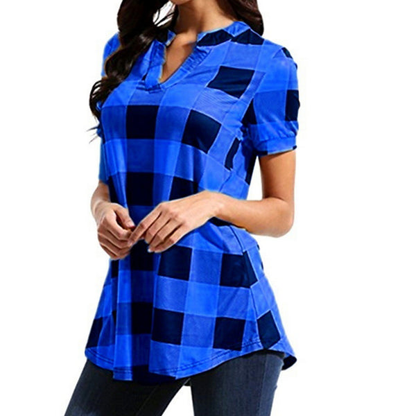 Women's Daily Basic Plus Size Shirt - Check V Neck