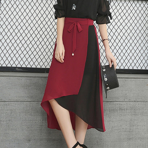 Women's Basic Asymmetrical Swing Skirts - Color Block Patchwork Black Red Wine / Slim