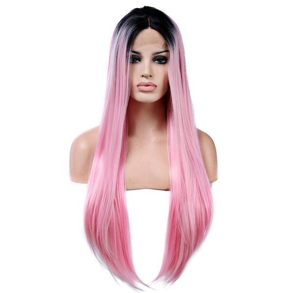 Synthetic Lace Front Wig Straight Style Lace Front Wig Pink Pink Synthetic Hair Women's Natural Hairline Pink Wig Long Natural Wigs